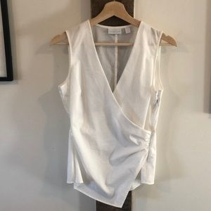 White V-Neck Blouse with Side Zip and Gathering